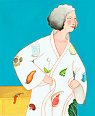 Food images on woman's bathrobe, illustration