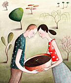 Couple carrying potted seedling outdoors, illustration