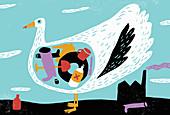 Bird with stomach full of plastic rubbish, illustration