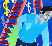 Man with injured back next to ladder, illustration