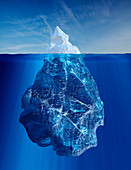 Iceberg above and below water line, illustration