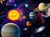 Orbiting planets in solar system, illustration