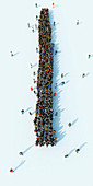 Queue of people waiting in a straight line, illustration