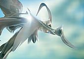 Abstract shiny silver shape, illustration