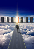 Businessman on road in clouds, illustration