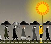 People under rain clouds, illustration