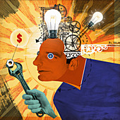 Light bulbs and cogs inside of head of man, illustration