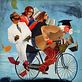 University professor riding bike, illustration