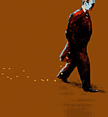 Businessman walking dropping coins from pocket, illustration