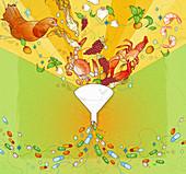 Fresh foods falling into funnel, illustration