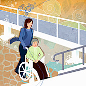 Woman pushing elderly woman in wheelchair, illustration