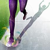 Legs of runner raising arms, illustration