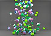 Balls falling onto floor, illustration