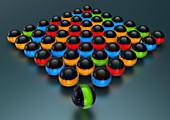 Glowing balls arranged in grid, illustration
