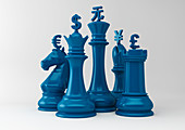 Currency symbols on chess pieces, illustration