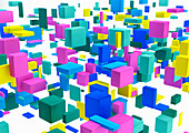 Abstract arrangement of multicoloured cubes, illustration