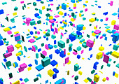 Floating multicoloured cubes, illustration