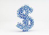 Cluster of capsules in 3d dollar sign, illustration