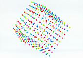 Grid arrangement of balls in cube shape, illustration