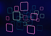 Abstract neon squares, illustration