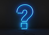 Neon blue question mark, illustration