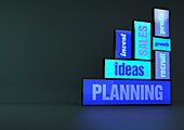 Business growth strategy planning signs, illustration