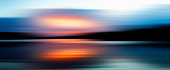 Defocused view of sunset over lake, illustration