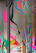 Abstract pattern of distorted merging colours, illustration