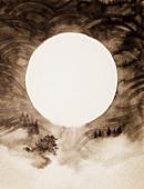 Sun over misty rural landscape, illustration