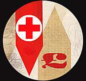 Red cross with British pound symbol on arrows, illustration