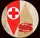 Red cross with dollar sign on arrows, illustration