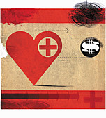Heart with red cross following dollar sign, illustration