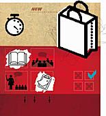 Shopping bag, books and check lists, illustration