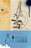 Microscope with beakers and test tubes, illustration