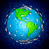 Globe focused on North and South America, illustration