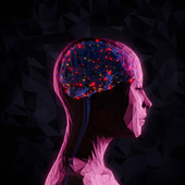 Bright lights inside of woman's head, illustration