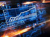 Increasing graph on stock market screen, illustration