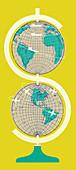 Globes stacked to form dollar symbol, illustration