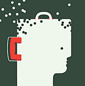 Briefcase in head shape with holes punched out, illustration