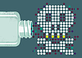 Pills and capsules forming skull, illustration