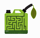 Biofuel gasoline can with maze, illustration