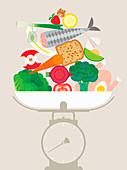 Pile of healthy food on weighing scales, illustration