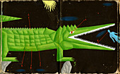 Crocodile with mouth open, illustration