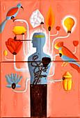 Man's torso connected to environment symbols, illustration