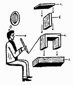 Man designing wooden structure, illustration