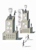 People communicating between buildings, illustration