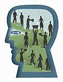 People collaborating inside man's head, illustration