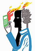 Heat from cell phone burning man's face, illustration