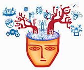 Arrows emerging from brain, illustration
