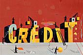 People rebuilding Credit, illustration